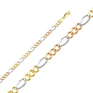 14K Tri Color 5.5mm Figaro 3+1 Concave Chain- 24""